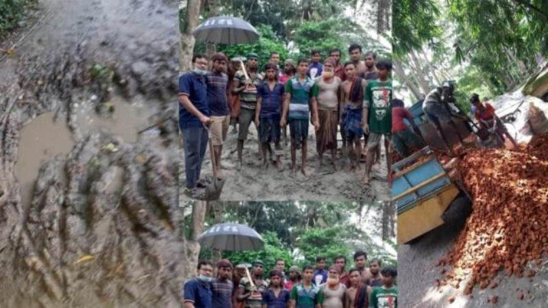 """গৌরনদীতে """"মানবিক সংস্থা'র""""অর্থায়নে বেহাল রাস্তা সংস্কার হওয়ায় স্বস্থি ফিরেছে দুই গ্রামে"""
